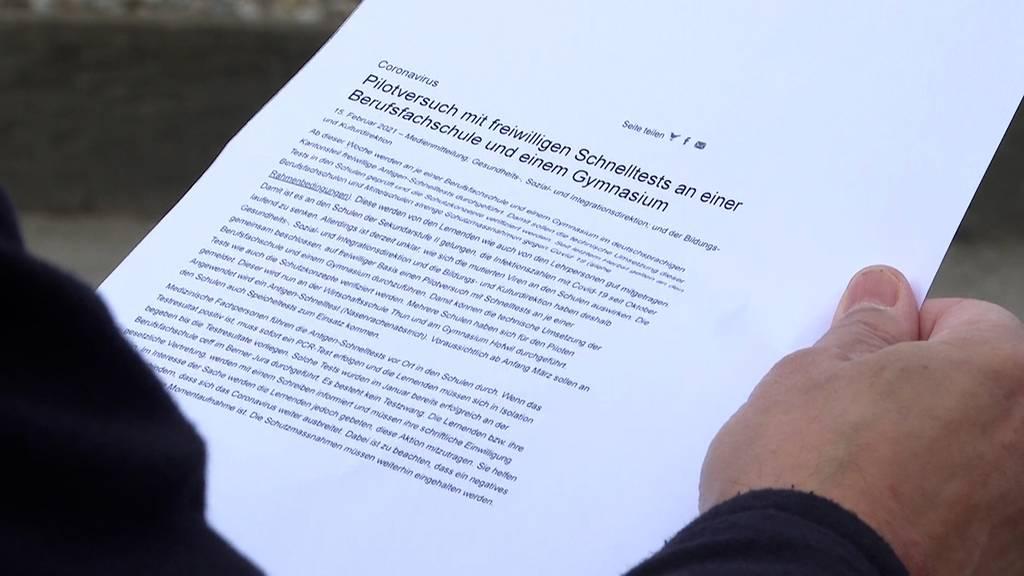 Pilotversuch: Corona-Schnelltests an zwei Schulen im Kanton Bern
