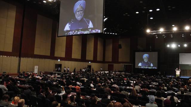 Der indische Premier Manmohan Singh spricht an der Artenschutzkonferenz