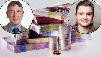 Peter Voser (CVP) und Mia Jenni (Juso) sind sich nicht einig, welche Auswirkungen die Millionärssteuer haben würde.