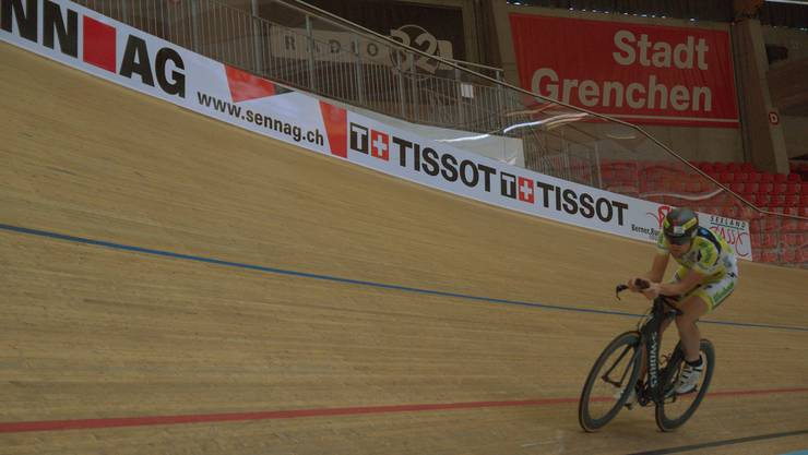 Christoph Strasser beim Training in Grenchen.
