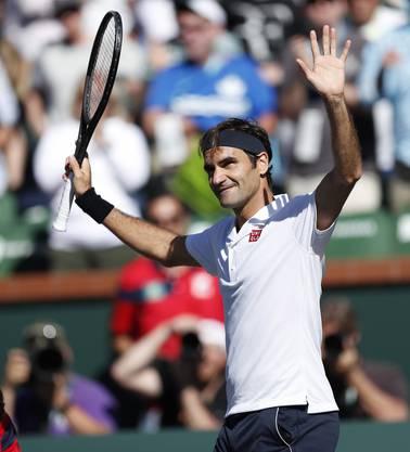 Roger Federer kann jubeln: Er zieht gegen Kyle Edmund ins Viertelfinal von Indian Wells ein.