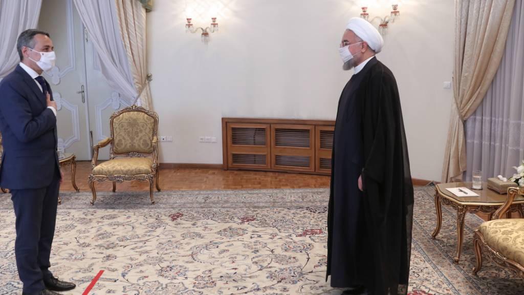Aussenminster Cassis traf zum Abschluss seines dreitägigen Besuchs im Iran auch noch Präsident Hassan Ruhani.