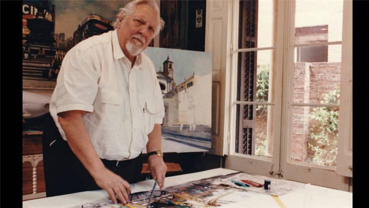 Rudolf Häsler in seinem Atelier in Sant Cugat bei Barcelona. Hier erschuf er fotorealistische Werke, die er danach auch in Solothurn und im Thal an Bekannte verkaufte.