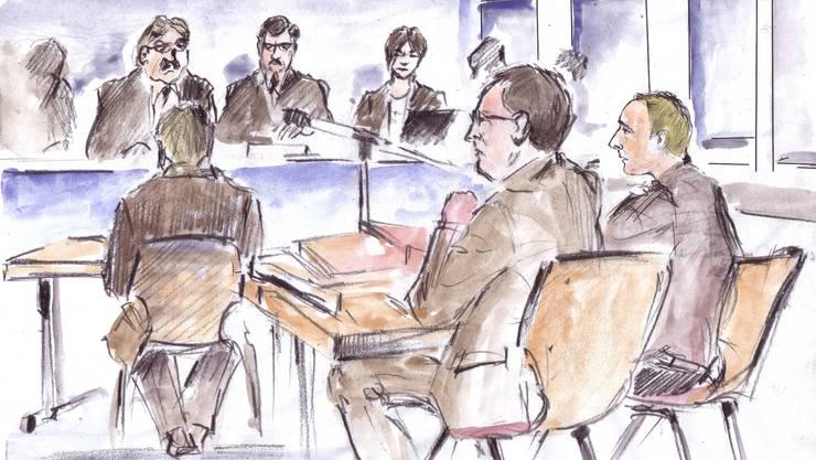 So sah der Gerichtszeichner den Prozess.