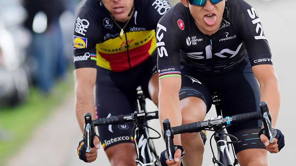 Philippe Gilbert (links) kämpft sich beim Amstel Gold Race nach seinem Sturz zurück und gewinnt