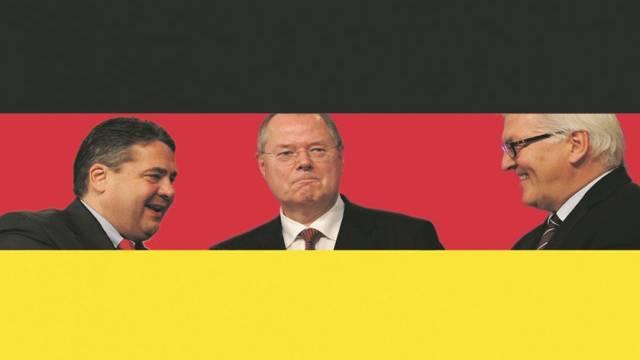 Sie poltern gerne gegen die Schweiz und wollen alle Kanzlerkandidat für die SPD werden: Parteivorsitzender Sigmar Gabriel, Ex-Finanzminister Peer Steinbrück und Fraktionschef Frank-Walter Steinmeier (von links). Foto: AZ