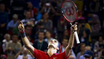 Roger Federer bei seinem Triumph in Schanghai in der vergangenen Woche.
