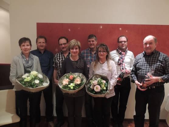Brigitte Lütolf, Bruno Aeschbacher, Hanspeter Krüttli, Kartin Pfister, Martin Bieri, Petra von Arx, Christian Hug und Walter Bärtschi (v.l.n.r)