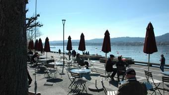Restaurant Pumpstation am Utoquai/Zürichsee am Tag vor der Schliessung wegen des Corona-Virus.