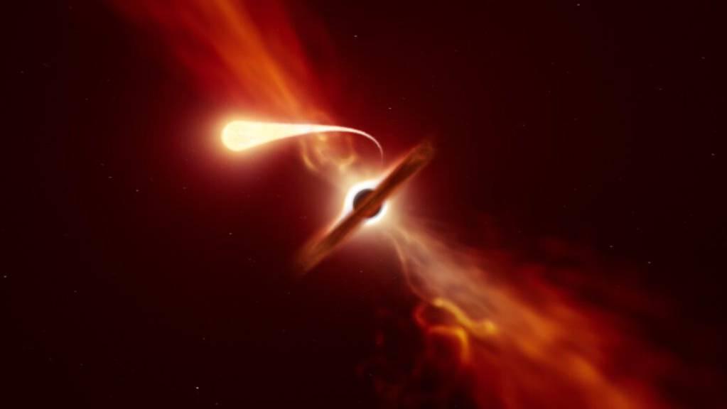 Künstlerische Darstellung eines Sterns, der durch die Gezeitenwirkung eines schwarzen Lochs eine «Spaghettisierung» erfährt.