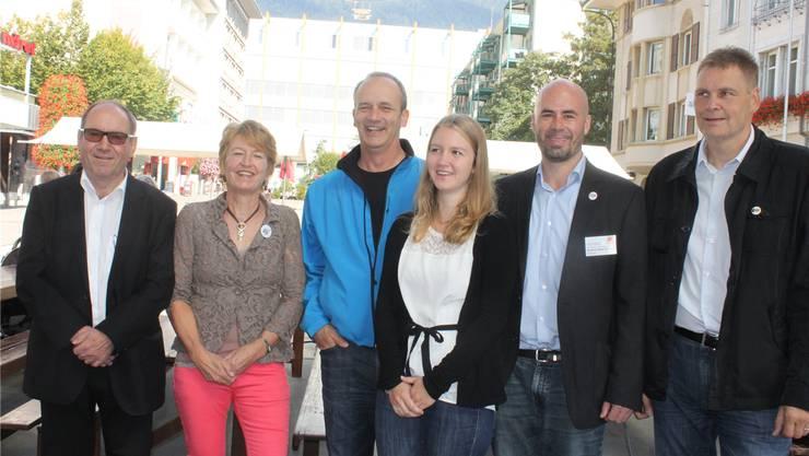Kandidierende aus Grenchen, von links: Remo Bill (SP), Nicole Hirt (GLP), Alexander Kohli (FDP), Andrea Heiri (JCVP), Matthias Meier-Moreno (CVP) und Roland Hartmann (BDP). Andreas Toggweiler