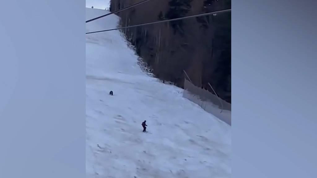 Bär jagt Skifahrer die Piste hinunter