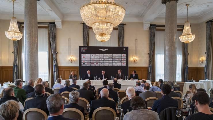Das Turnier-OK lud im Grand Hotel Les Trois Rois zur Vorschau-Pressekonferenz.