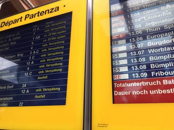 Verspätungen und Zugausfälle am Bahnhof Bern wegen einer Stellwerkstörung (1)
