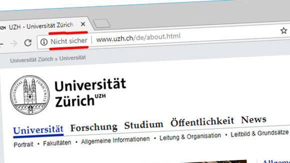 Auch die Webseite der Universität Zürich nutzt (noch) keine gesicherte Verbindung.