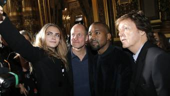V.l. Cara Delevingne, Woody Harrelson, Kanye West, Paul McCartney