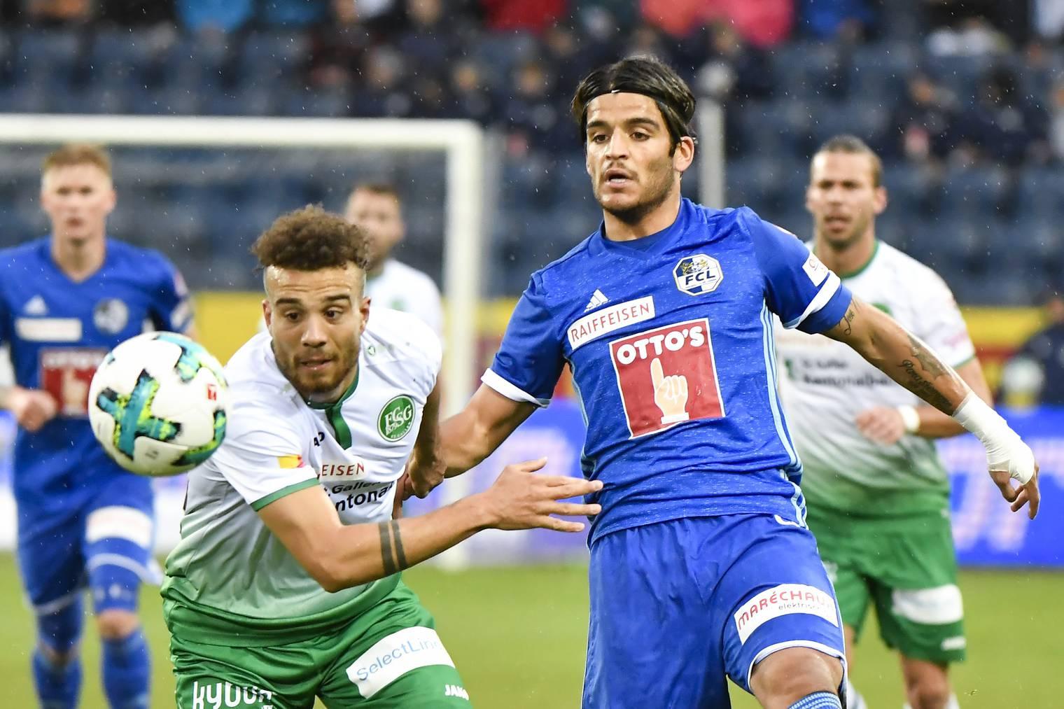 Luzerns Francisco Rodriguez (rechts) bescherte seiner Mannschaft einen tollen Start in das Spiel gegen St. Gallen.