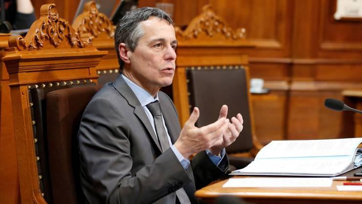 """Für Aussenminister Cassis war der Begriff """"Institutionelles Rahmenabkommen"""" schon vor seiner Wahl """"total vergiftet""""."""
