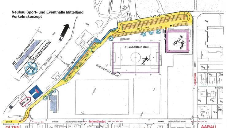 Situation der neuen Sport-und Eventhalle auf dem Sportplatz Feld: Die bestehenden und neuen Parkplätze (25 beim Freibad, total 147 bei der Halle) werden nur über die Aarestrasse (gelb) entlang dem Freibad (blauer Bereich) erreichbar sein. Die Schachenstrasse (rechts) wird entlastet.