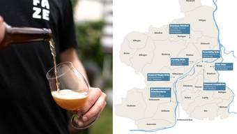 Hier können Sie überall Brugger Biere geniessen.