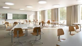 Die Visualisierung zeigt, wie es dereinst im Klassenzimmer im geplanten Erweiterungsbau aussehen wird.
