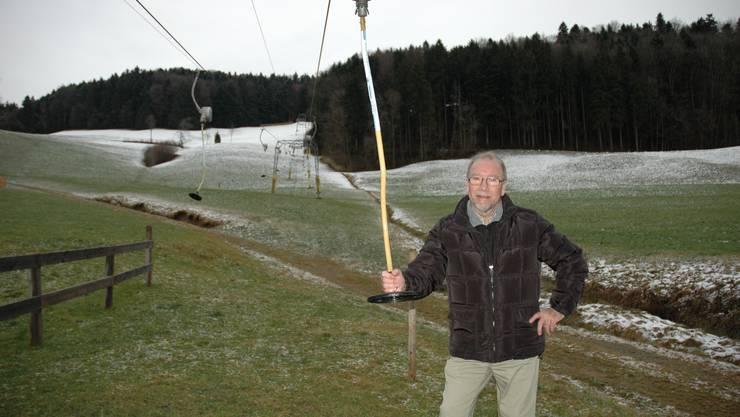 Warten auf den Schnee - Skilift-Präsident Markus Ineichen