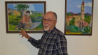 Siegfried Gasser stellt in der Leuenmatte aus. Nach einer Fotografie malte er als 75-Jähriger seine Frau als Jungvermählte.