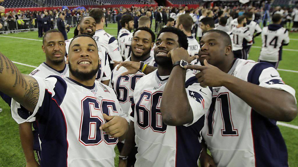 Spieler der New England Patriots im Vorfeld der 51. Super Bowl in Houston
