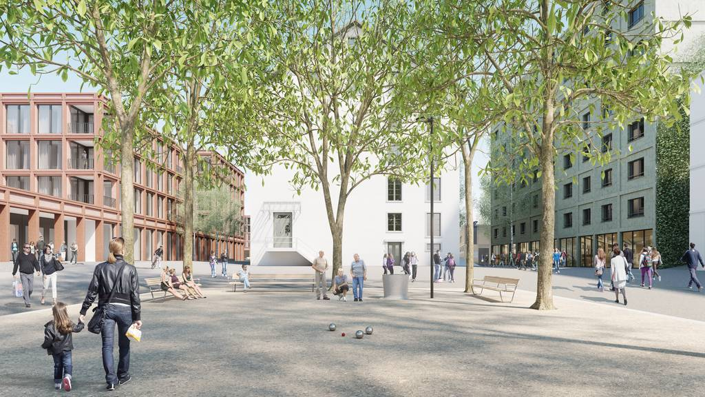Es entstehen zwei Gebäude mit Cafés, Restaurants und Ladenflächen.