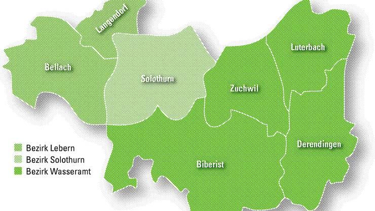 Sieben Gemeinden in drei Bezirken prüfen das Zusammenrücken: Langendorf und Bellach (Berzirk Lebern), Biberist, Zuchwil, Luterbach und Derendingen (Wasseramt) sowie der Stadtbezirk Solothurn.