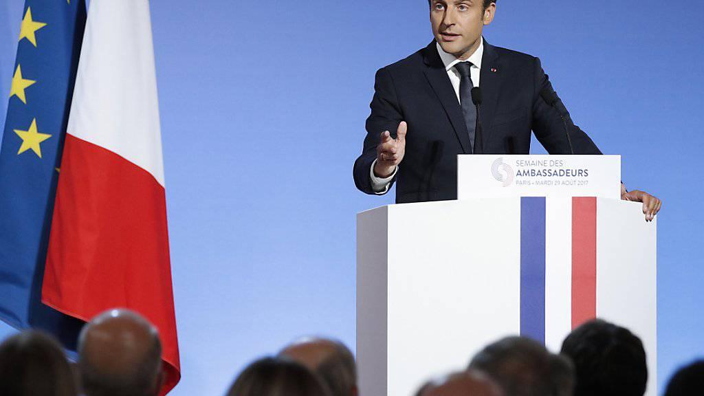 Der französische Präsident Macron bezeichnet den Kampf gegen den Terrorismus als oberste Priorität der Aussenpolitik seines Landes.