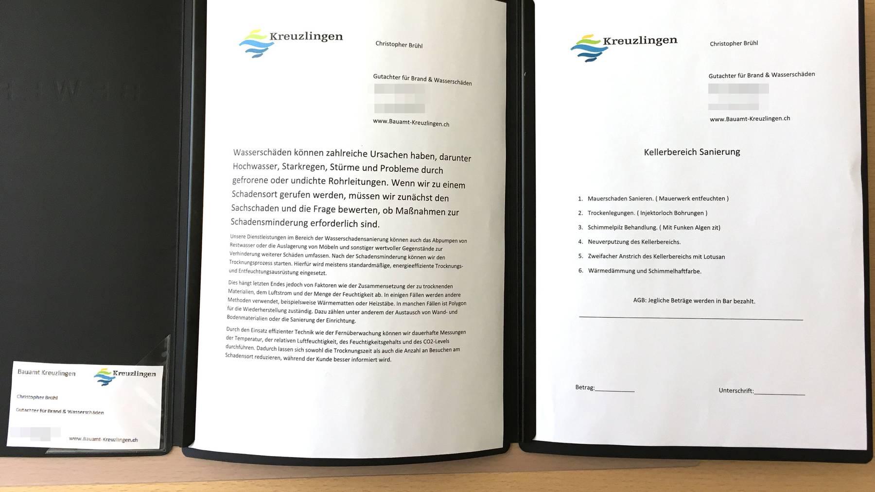 Der vermeintliche Mitarbeiter des EKWs hatte diese Dokumente einer Sanierung bei sich.