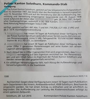 Verfügung über den schwarzen PW im Amtsblatt.