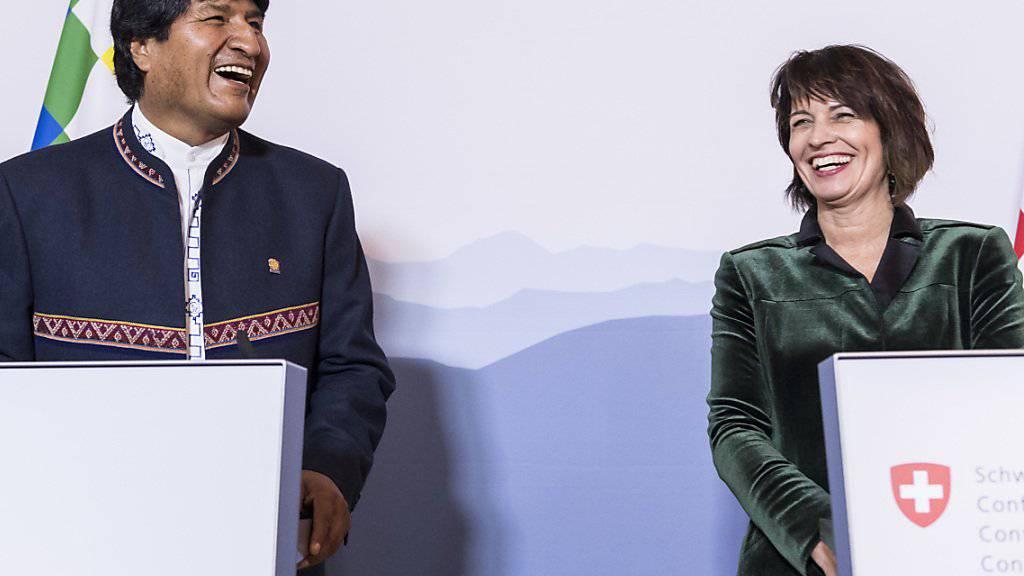 Bundespräsidentin Doris Leuthard und der bolivianische Präsident Evo Morales am Donnerstag in Bern.