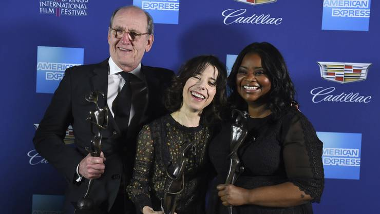 "Sie dürften am (heutigen) Sonntagabend mit weiteren Auszeichnungen nach Hause gehen: die Schauspieler Richard Jenkins, Sally Hawkins und Octavia Spencer (von links), die in ""The Shape of Water"" die Hauptrollen spielen. (Archivbild)"