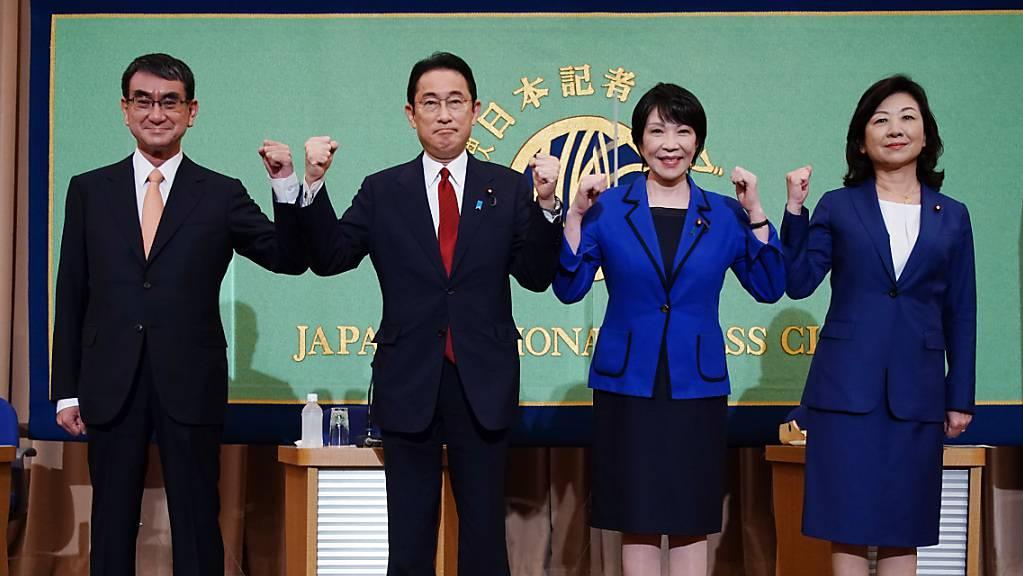 ARCHIV - Taro Kono (l-r), Fumio Kishida, Sanae Takaichi und Seiko Noda treten als Nachfolger für Partei- und Regierungschef Suga an. Die in Japan seit 66 Jahren fast ununterbrochen regierenden Liberaldemokraten der LDP haben am Mittwoch mit der Wahl ihres Parteivorsitzenden begonnen. Foto: Pool/ZUMA Press Wire/dpa
