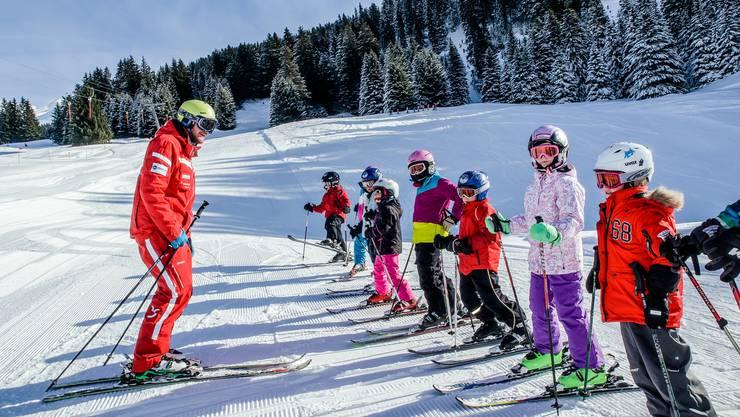 Skigruppe auf der Lenzerheide