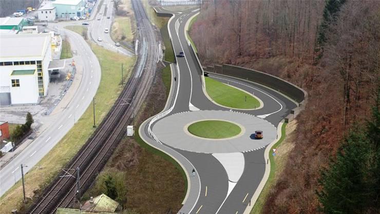 Mit der Südwestumfahrung gibts in Brugg West einen Kreisel. Visualisierung/ZVG