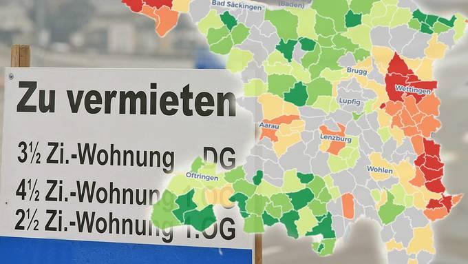 Im Aargau gibt es bei den Immobilienpreisen als auch bei den Mieten grosse Unterschiede.