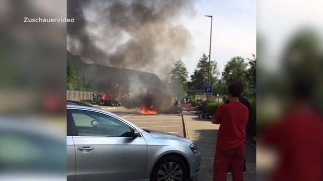 Brand auf Rastplatz Täniken