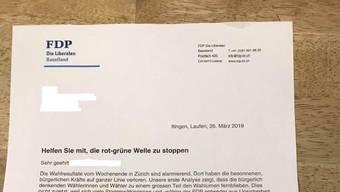 Auf den letzten Drücker: Diesen Brief der FDP haben etliche Baselbieterinnen und Baselbieter erhalten – er soll diejenigen aufrütteln, die «besonnen, bürgerlich, freiheitlich» denken.