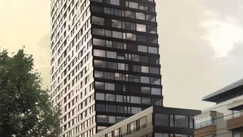 So soll er dereinst aussehen: der 96 Meter hohe Claraturm.