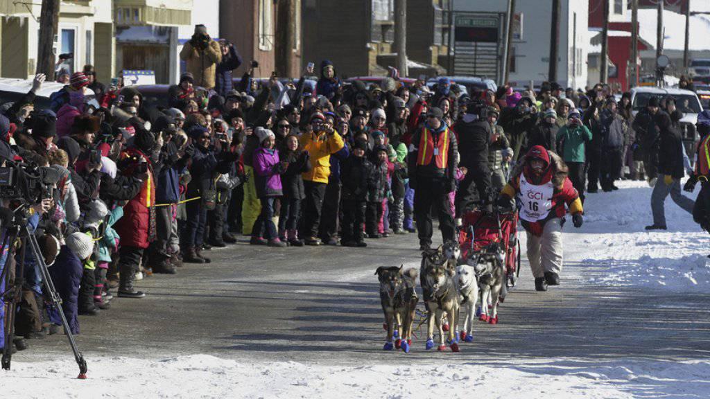 Hat das wohl härteste Hundeschlittenrennen der Welt zum dritten Mal gewonnen: Mitch Seavey, hier beim Endspurt in Nome, Alaska. Der 57-Jährige, der dieses Jahr einen Streckenrekord aufstellte, ist neu der älteste Sieger beim Iditarod.