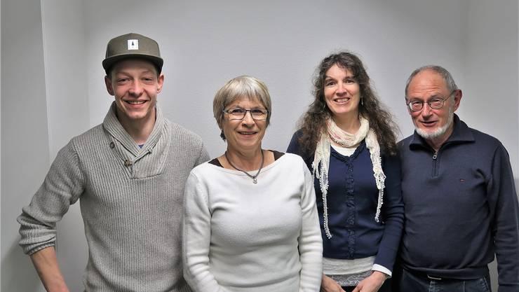 Der neue Vorstand mit (v. l.): Bijörn Egloff, Annagreth Ryser, Bettina Zehnder (bisher) und Hansueli Boksberger. zvg