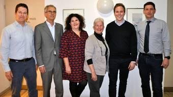 Das Referendumskomitee von links: Christian Werner, Felix Frey, Gerda Jank-Gerschwiler, Charlotte Kanzso, Philippe Ruf und Urs Nussbaum.