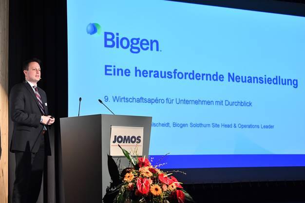 Michael Pohlscheidt, Standortleiter von Biogen in Luterbach, referierte über den Fachkräftemangel.