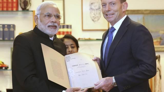 Indiens Premier Modi (links) mit Amtskollege Abbott in Australien
