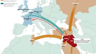 Die IS-Kämpfer und ihre Herkunftsländer.