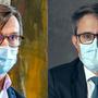 Pflichtbewusst mit Maske: Norbert Schnitzler, CEO Kantonsspital Baselland (l.) und Lukas Engelberger, Vorsteher des Basler Gesundheitsdepartements.