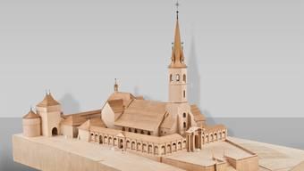 Modell der alten, im Kern noch romanischen St.-Ursen-Kirche vor dem Abbruch 1762.